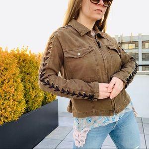 Free People Cross Laced Shoulders Camo Jean Jacket